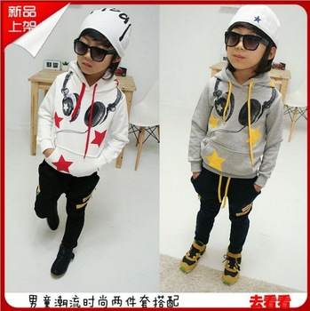 Fashion children boy leisure sports sets hoody sweater+pants Autumn wear star &headphone printed kids boy casual set clothing