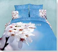 cotton bedlinen white peach flower blue background 4pcs queen/full oil painting comforter quilt/duvet covers bedding sets