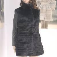 Fashion popular 2012 stand collar rabbit fur waistcoat long design fur vest customize