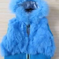 Child 2012 rabbit fur waistcoat with a hood rabbit fur vest child fur vest