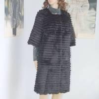 2012 fashion popular design long rabbit fur outerwear long design fur outerwear customize
