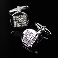 Min.order is $10 (mix order)Free shipping.NEW&Men's fashion style, Senior white-collar workers Circular crystal cufflinks