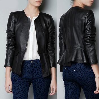 2014 Женщины's Длинный Рукав Ruffles Сплошной Цвет Leather Coat Ladies' ...