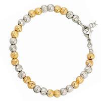 Lovely 18k yellow White gold filled GF Womens Girls Beads Balls bracelet chain Free Shipping