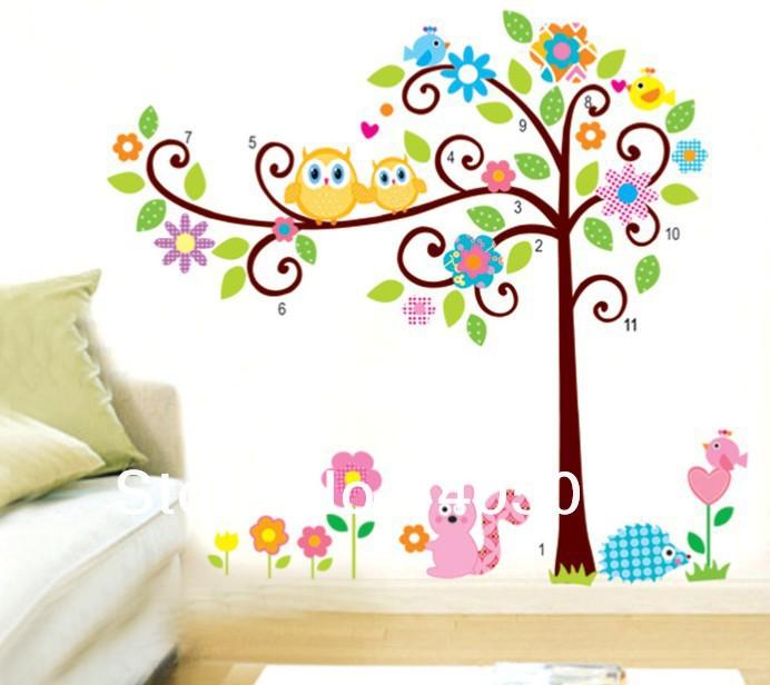 Cute owl murals tree sticker 2pcs 1set kids room wall decals gifts