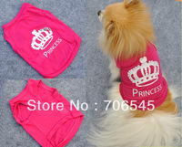 Free Shipping Wholesale Pet supplies Cute Lovely Hot Sale Pet Dogs  Polyester Rose Red Princess Printed Vest Clothes Apparel