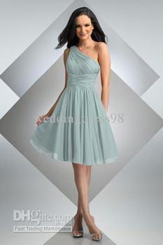Curta a linha Crossover Ruched corpete joelho de comprimento Chiffon vestidos dama de honra vestidos de festa