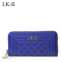 Lkii japanned leather sewing plaid wallet female cowhide 2013