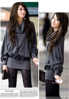 Hot sale 2013 spring autumn new fashion women's Sweet large size tops long sleeve lapel package hip t-shirts