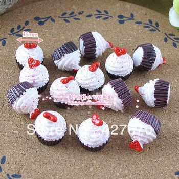 Free shipping flat back resins jam cream cupcakes 15mm 20pcs mixed kawaii cabochon for DIY home decorations christmas ornament