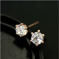 Min order $15(mix order) Free shipping 2013 new arriving brand Six claw drilling imitation rhinestone wedding stud earring