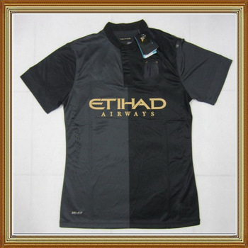 NEW SEASON !!! Manchester City Away Black Soccer Jersey 13/14,Thailand Quality Man City Black Soccer Jersey+Player Version