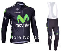 Hot Selling High Quality 2013 Movistar Winter Fleece/Thermal  Cycling Jersey(Maillot)+Bib Pant(Culot)//Some Sizes/Italy Ink