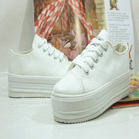 2013 spring and summer breathable white breathable canvas shoes female low paltform single platform casual shoes
