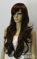 2013 new female brown brown long curly hair wig oblique bangs wig high temperature wire cos