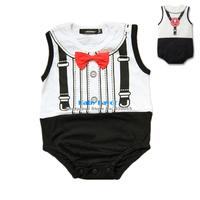 Free Shipping 1pcs Toddler Infant Newborn Kid Children Baby Girl Bowknot Gentleman Bodysuit Jumpsuit One-piece Clothes Summer