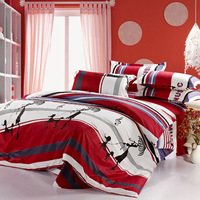 Slanting 100% cotton stripe print red music note of the piece bedding set home textile