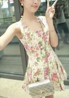 2013 vintage print pattern slim waist pleated sweep sleeveless vest one-piece dress h35