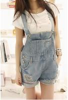 2013 summer vintage loose distrressed denim bib pants shorts female r08