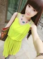 Beading neckline strapless pleated diamond elegant one-piece dress sleeveless tank dress female f22
