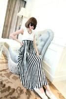 Women's summer vertical stripe patchwork high waist full dress sleeveless slim pleated tank dress c40