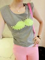 Summer women's paillette handmade beaded solid color slim sleeveless T-shirt c37