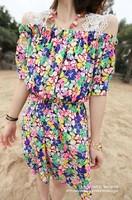 2013 spring beautiful lace shoulder strap slit strapless neckline slim waist all-match d40 one-piece dress