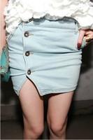 2013 women's summer button all-match fashion denim short skirt bust skirt h01