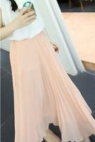 2013 women's solid color fairy design long chiffon bust skirt x17