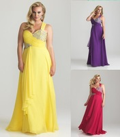 Free Shipping 2013 New Plus size One shoulder Beaded Chiffon Long Sexy Evening Gown Formal Party Prom Dresses