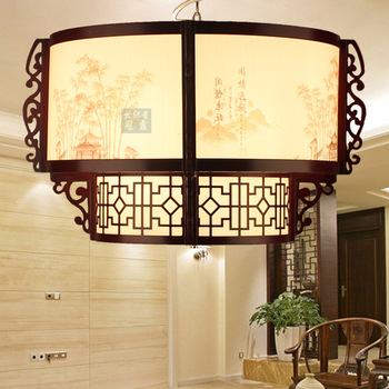 Chinese style classical pendant light wooden antique wool sheepskin lamp restaurant lamp 1