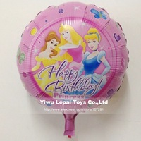 "Free shipping 50pcs/lots ,18 inch round shape ""happy birthday princess"" foil balloon , Girl's birthday party decorate"