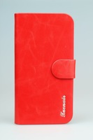 Leather Case Skin Cover Shell for Samsung Galaxy SIV S4 GT-i9500 oil wax  Red