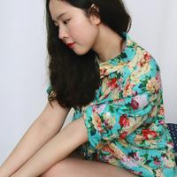 free shipping Tropical 2013 vintage turn-down collar half sleeve sun protection shirt female