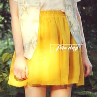 free shipping Turmeric vintage fresh slim waist chiffon short skirt bust skirt
