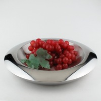 Double layer thickening stainless steel fruit plate flying saucer fruit dish