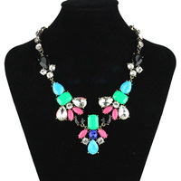 2013 New Jewelry J.c multicolour color block decoration crystal resin necklace hot-selling accessories for women free shipping
