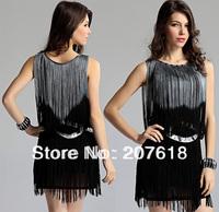 2013 New Women Sleeveless Gauze Tassel Dress Sexy Mini Western Formal Dresses Evening Party Dress