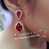Free Shipping Fashion Gold Plated Water-drop Shape Red Gem Full Rhinestone Stud Earrings