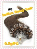 Micro loop hair extension Pre-bonded brazilian hair keratin hair color 8# Medium Brown 0.5g/pc