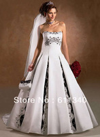 2013 Hot sale Sexy A Line Strapless Floor length Beaded White/Ivory/black Satin wedding dress Bridal gown custom Size A-1117
