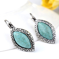 Free shipping Statement Earrings,Antique Silver-plated Horse-eye Turquoise Drop Earrings,Natural Turquoise Stones Earrings