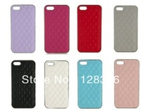 Best price ,   Luxury Deluxe Quilted Leather Chrome Hard Case Cover For  iPhone 5 5G and 4 4s