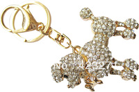 Zinc Alloy Rose Gold Plated Rhinestone Keychains Doggy Shape KC016