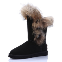 One piece rukas fur snow boots fox fur knee-high boots