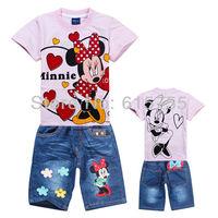 2013 New Arriving Children's suits Girls Cartoon Clothing Set Kids Minnie Sports Suit Children short t shirt+Jeans 2pcs Garment