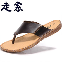 Summer new arrival 2013 new arrival casual men's cowhide flip flops slippers male beach slippers 011