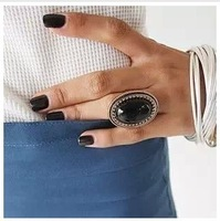 R180  large size fashion oval shape gem vintage ring full finger ring free shipping