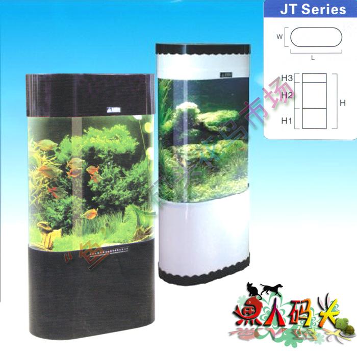 Heavy vertical acrylic aquarium oval fish tank jt-800 lamp oxygen pump ...