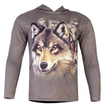 Men's T shirt 3D Wolf Print T Shirt Long sleeve  Hoodies Brand Tops M~6XL Big Size Cotton Tees Men  wistiti  keep warm  T-shirt